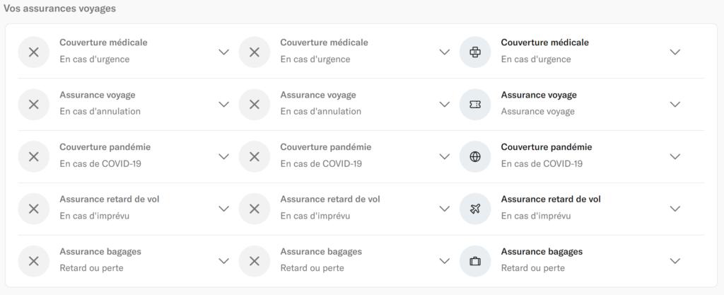 Copie d'écran du site de n26 de ce qu'il est possible d'avoir au niveau des assurances en fonction de l'offre.