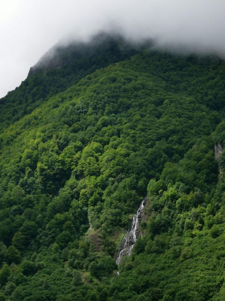 paysage montagne et cascade et brume