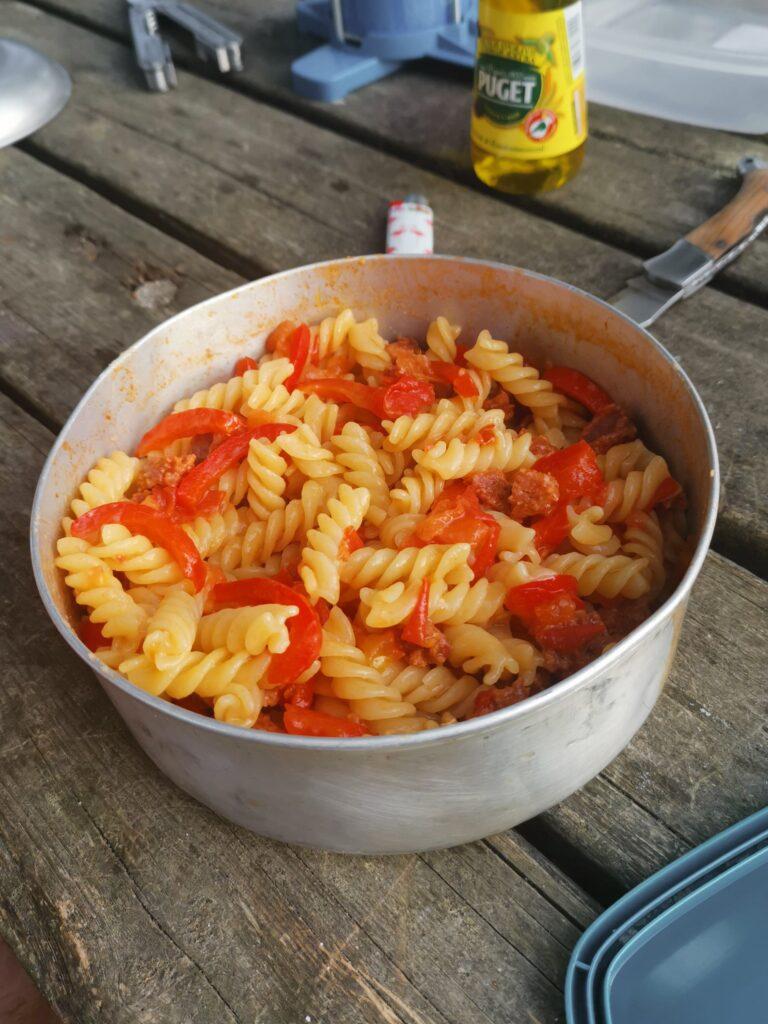 one pot pasta au chorizon recette vanlife