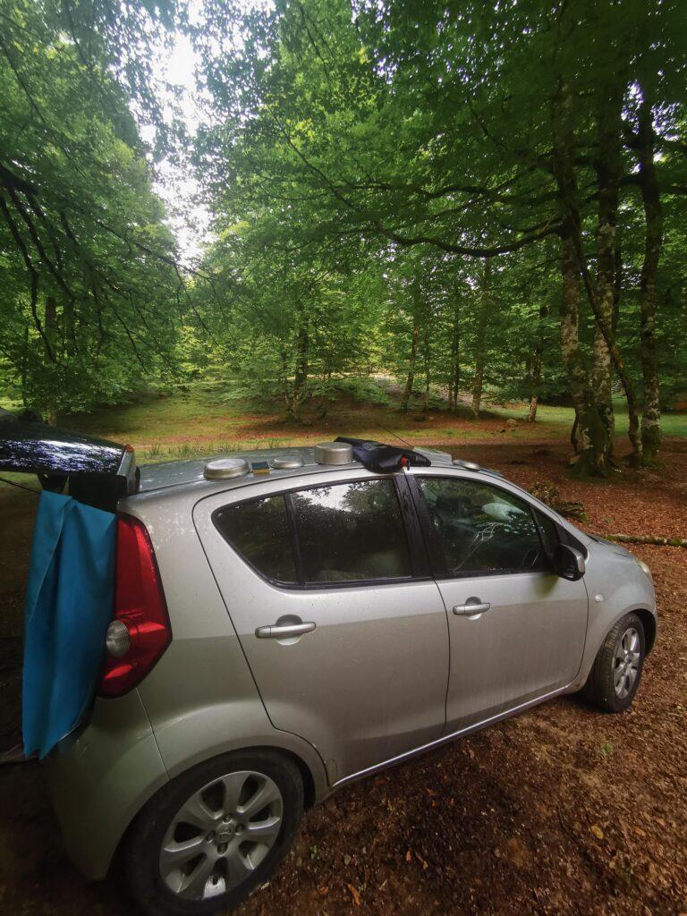 la voiture dans une forêt notre sport pour une nuit durant notre road trip d'un mois en France